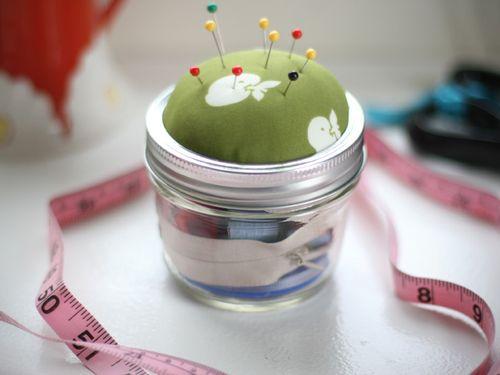 diy sewing kit jar pin cushion tutorial