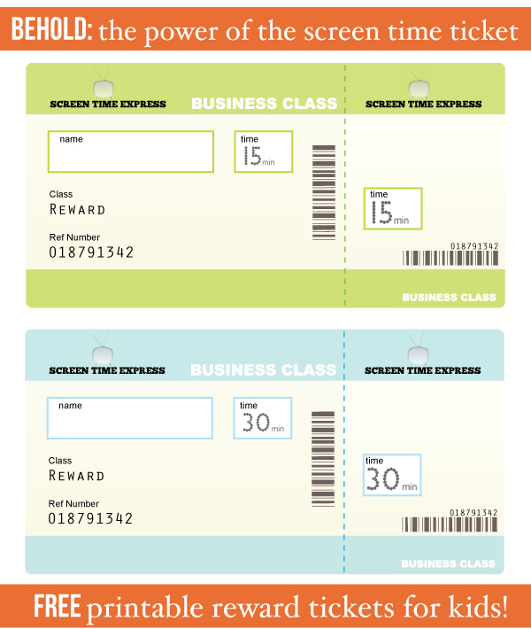 Free-printable-screen-time-reward-tickets-for-kids-great-idea-#parenting