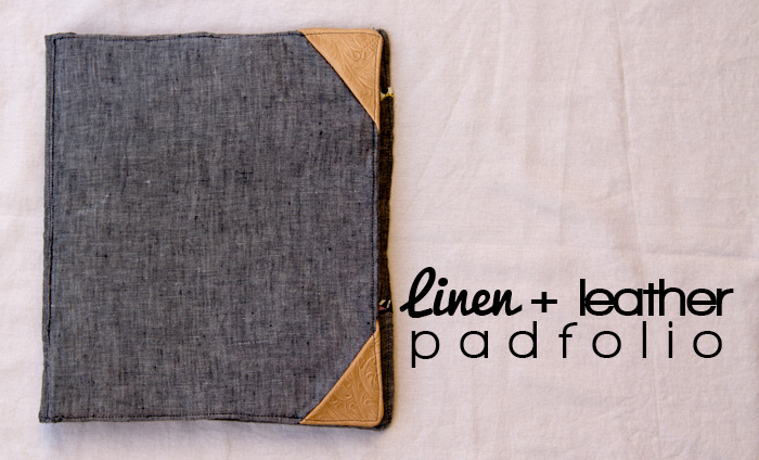 Linen-and-leather-padfolio