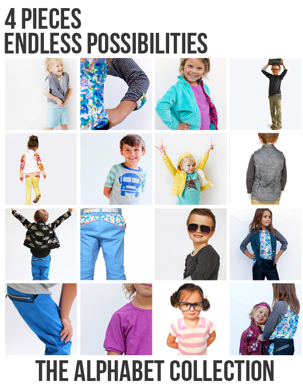 Alphabet collection unisex sewing patterns for kids