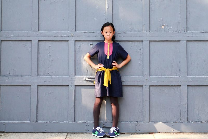 Great color block bib dress for girls by Neige